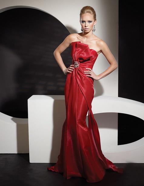 Robe de bal pour soirée ou dîner en taffetas rouge à nœud papillon sans bretelle PERSUN 2013
