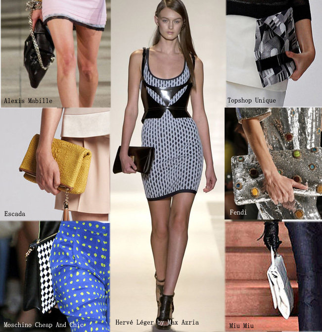 Pochette pour défilé fashion week, marques: Alexis Mabille, Escada, Moschino Cheap and Chic, Hervé léger by Max Azria, Miu Miu, Fendi, Topshop Unique