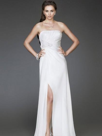 robe pour cocktail blanche style bustier et fendue