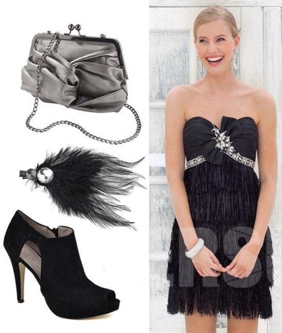 robe de soirée courte en noire à volants en pampille à nœud papillon décolletée en coeur sans bretelle