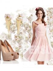 robe du soir rose col asymmétrique en mousseline