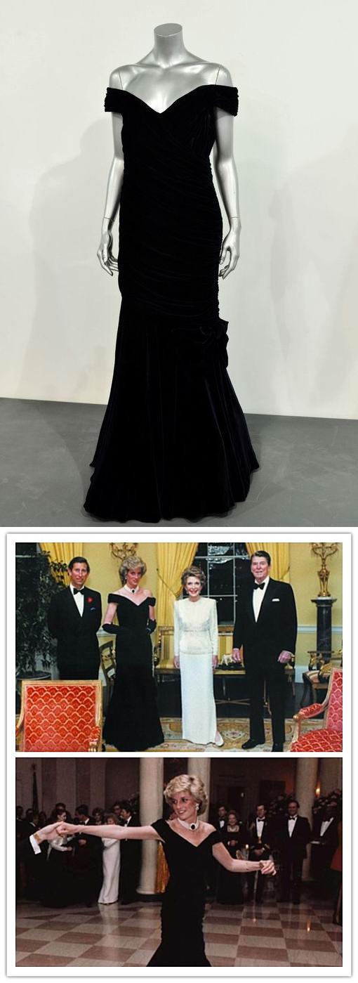 robe noire à l'épaule dégagée de Lady Diana lors de sa visite à White House