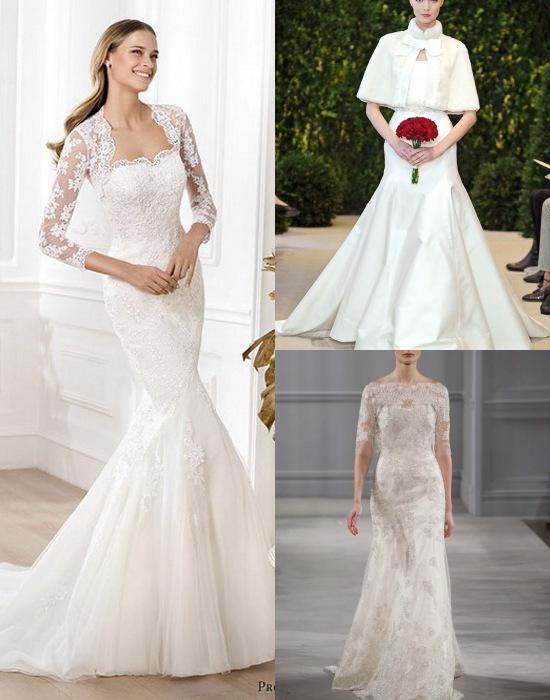 Boléros et robes de mariage dans les collections Printemps-Été 2014 de Pronovias, Carolina Herrera et Monique Lhuillier