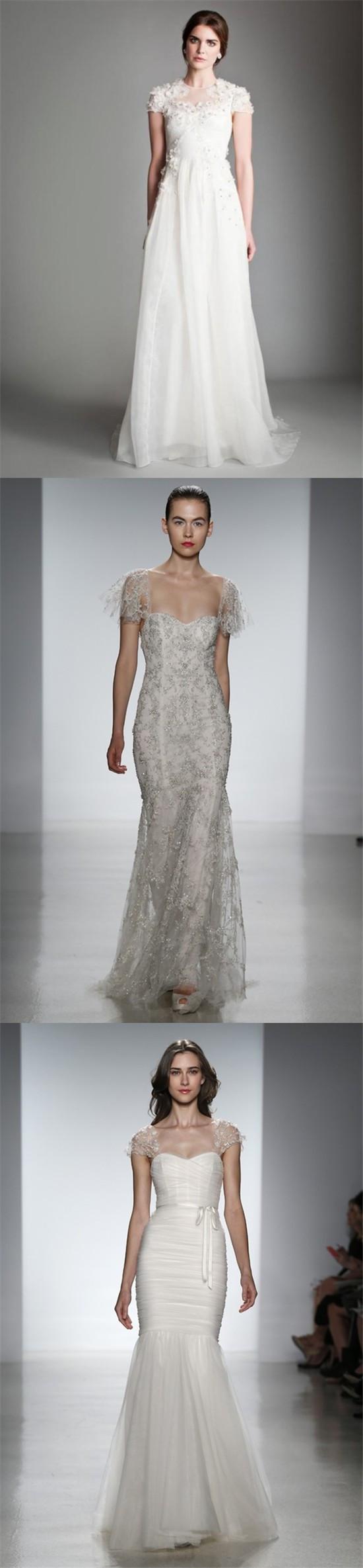 Trois robes pour la mariée avec mancherons dans les collections Printemps-Été 2014 de Kenneth Pool, Temperley et Christos