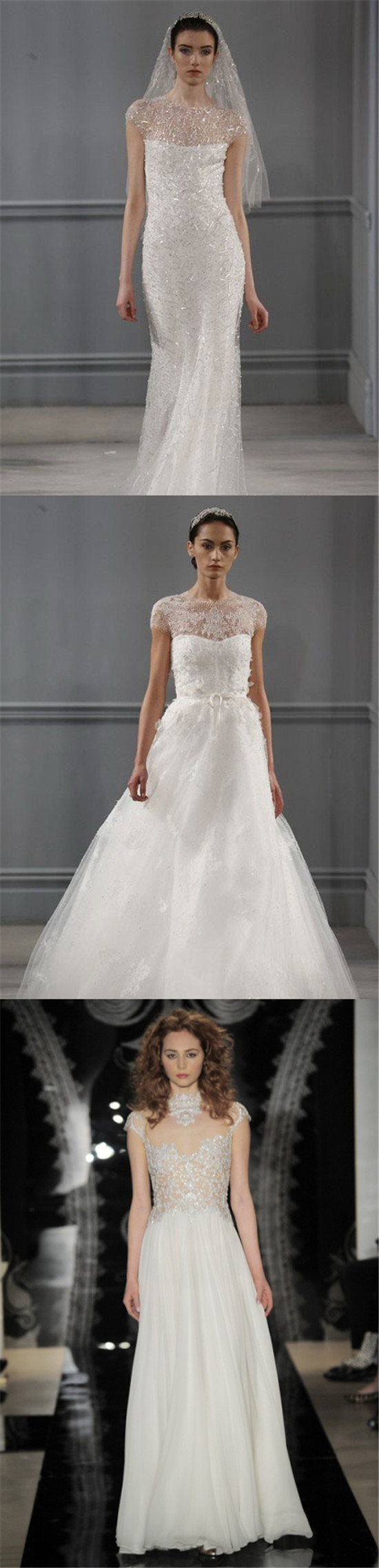 Trois robes de mariée ornées de paillettes dans les collections de Monique Lhuillier et de Reem Acra