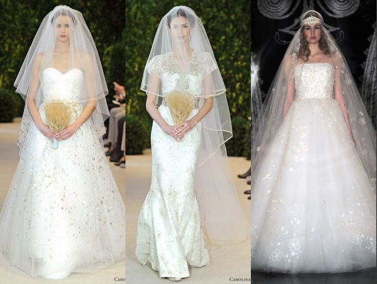 Robes pour la mariée en tissu brillant des collections Printemps-Été 2014 de Carolina Herrera et de Reem Acra