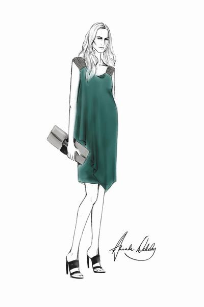 Robe de cocktail vert malard de Amanda Wakeley pour Duchesse Kate