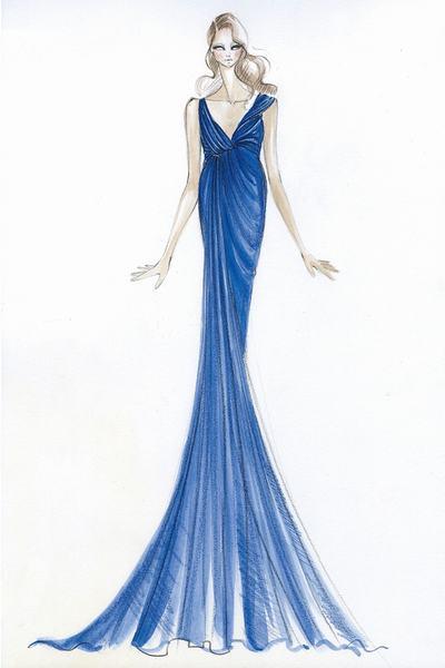 Robe de soirée bleue sirène de Donna Karan pour Kate Middleton