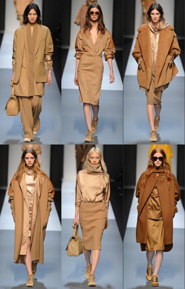 Six mannequins sur le podium présentant la collection Automne-Été 2013 de Max Mara