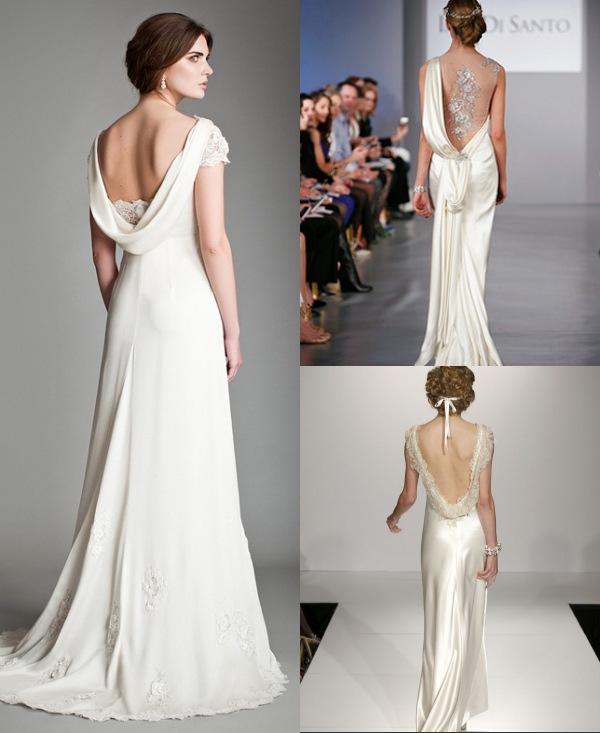 Robes de mariage au dos drapé formé d'un U dans les collections Printemps-Été 2014 de Temperley, Maggie Sottero et Ines Di Santo