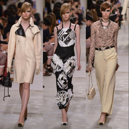 trois mannequins portant la Collection Printemps 2014 Chanel sur le podium en Singapour