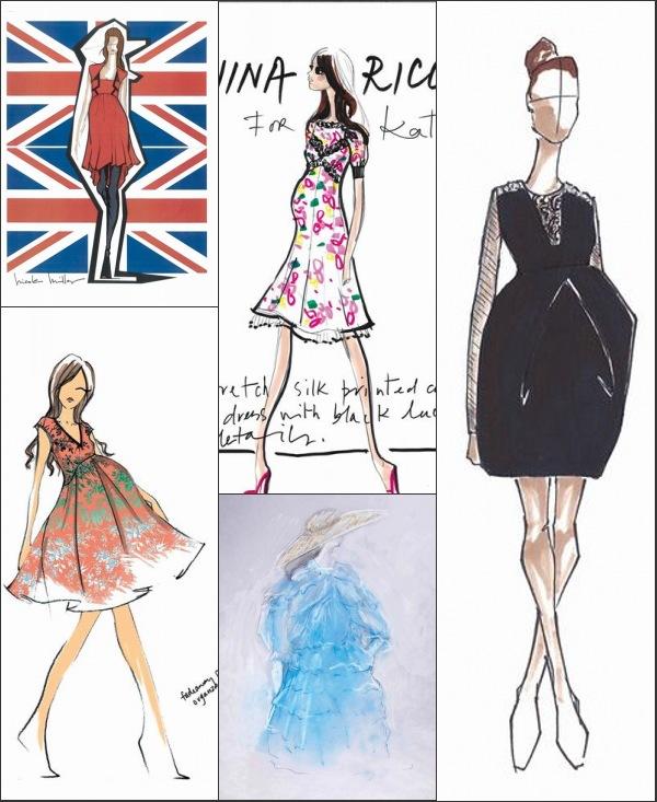 Esquisses de Nicole Miller, Nanette Lepore, Nina Ricci, Lorry Newhouse et Vera Wang pour la robe de maternité de Kate Middleton