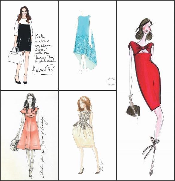 Esquisses de Alexis Mabille, Huishan Zhang, Lela Rose, Andrew Gn et Chloé pour la robe de maternité de Duchesse Kate