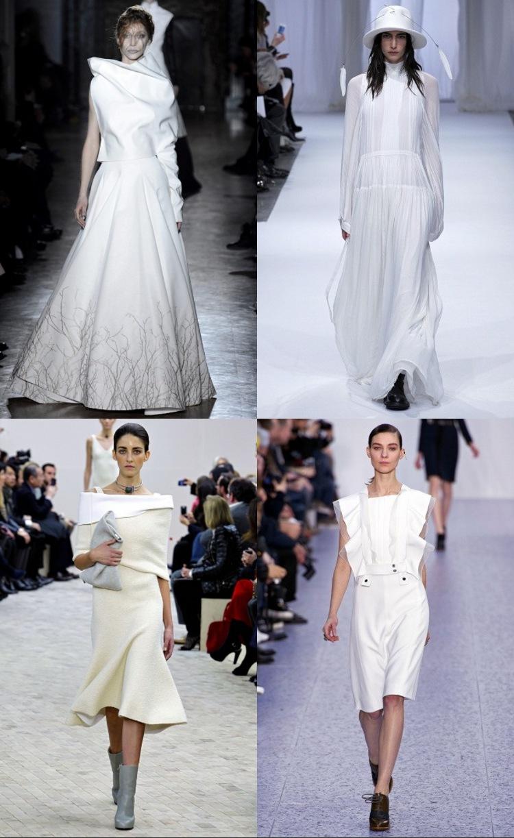 Robes blanches pour automne 2013 d'Ann Demeulemeester, Gareth Pugh, Chloé et Céline