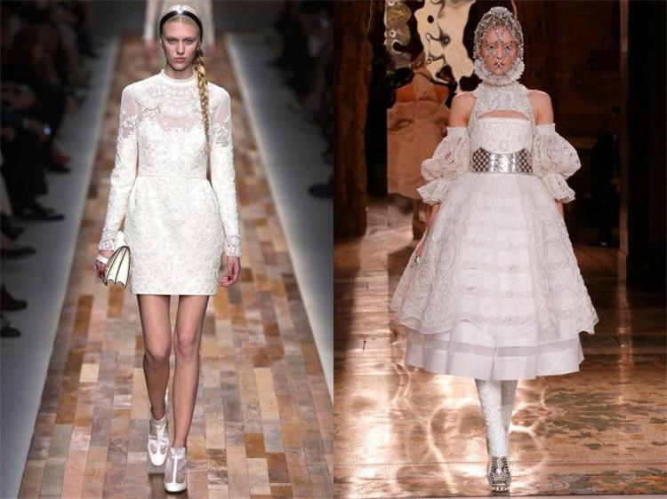 Robes blanches vintage en dentelles de Valentino et d'Alexander McQueen