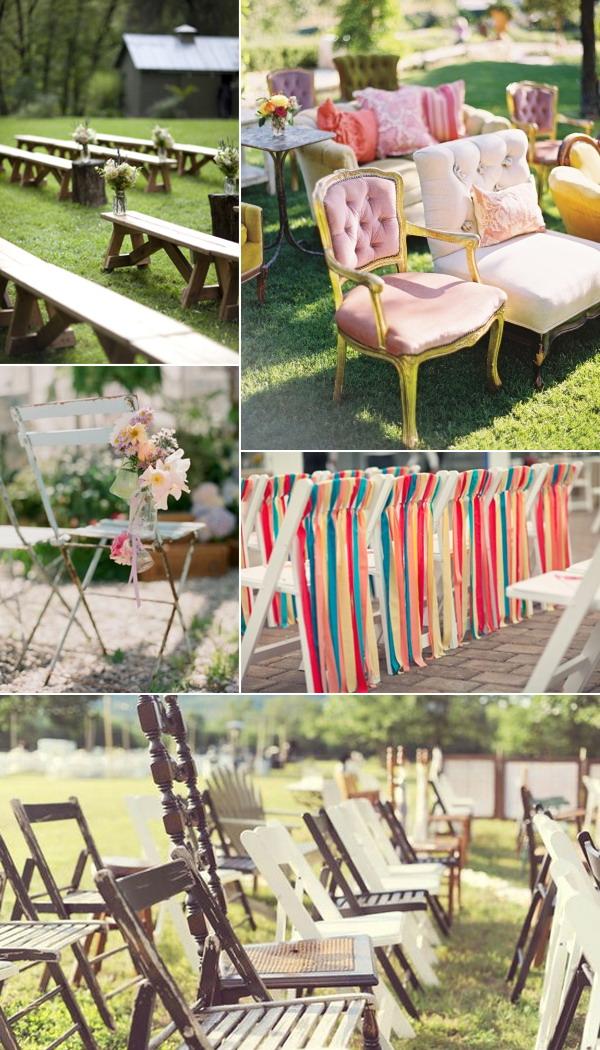 les chaises spéciales pour la cérémonie de mariage à l'extérieur