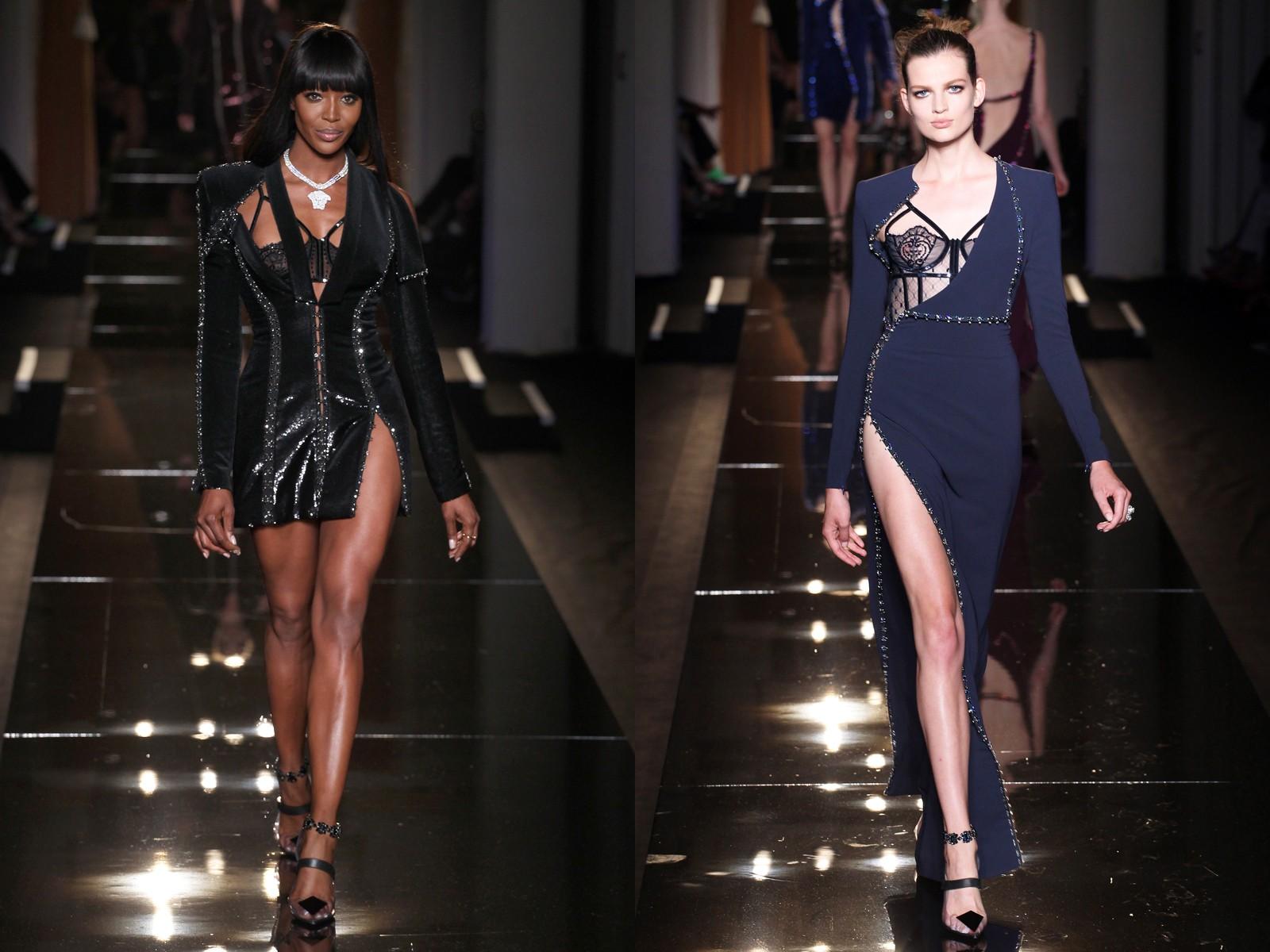 robe cocktail noire et robe de soirée bleue dans la collection haute couture automne 2013 de Versace