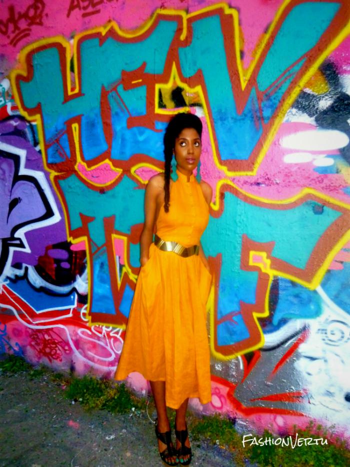 Robes de soirée jaune faites à la main du style Ghetto