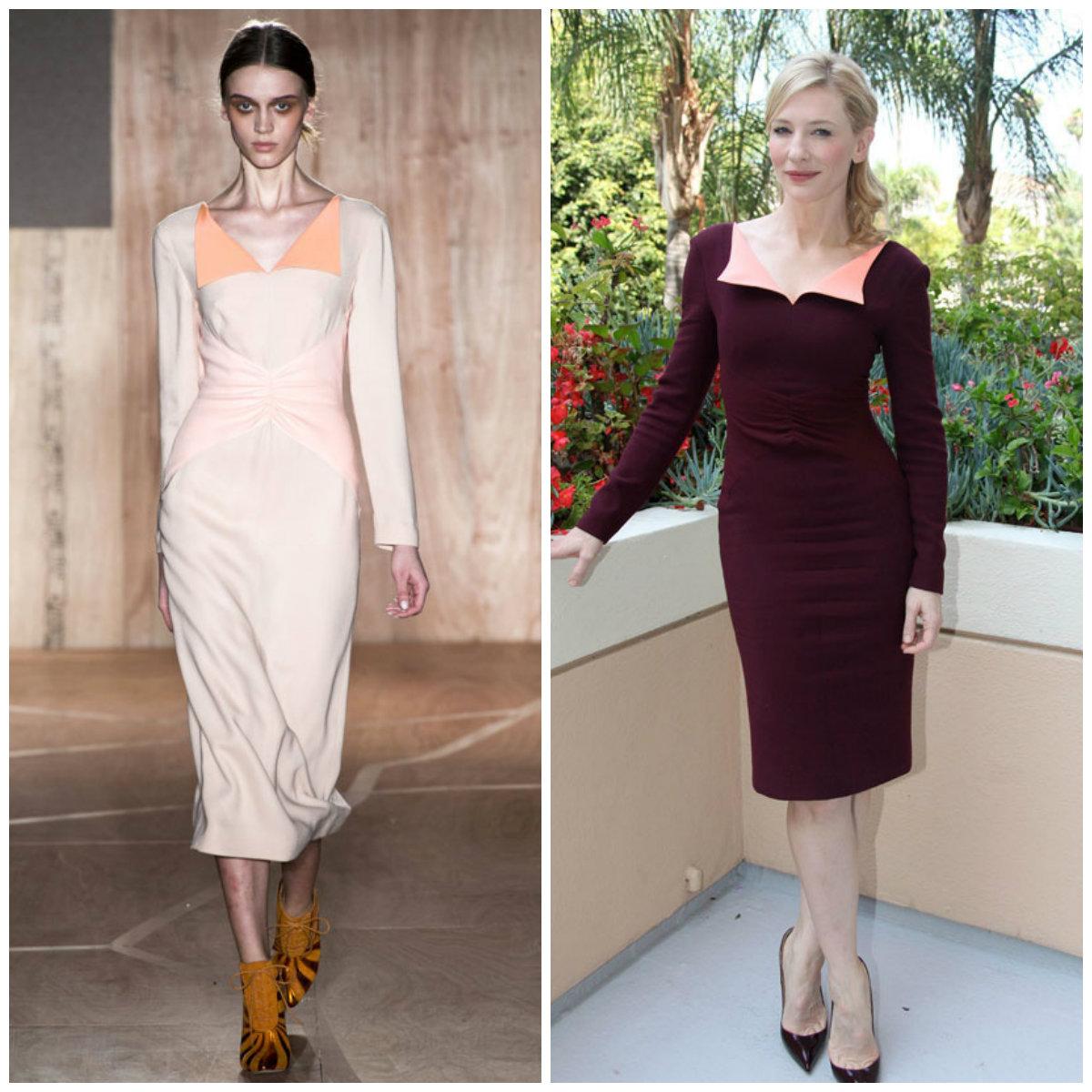 Cate Blanchett en robe de cocktail courte fourreau de la collection automne-hiver 2013-2014 de Roksanda Ilinic