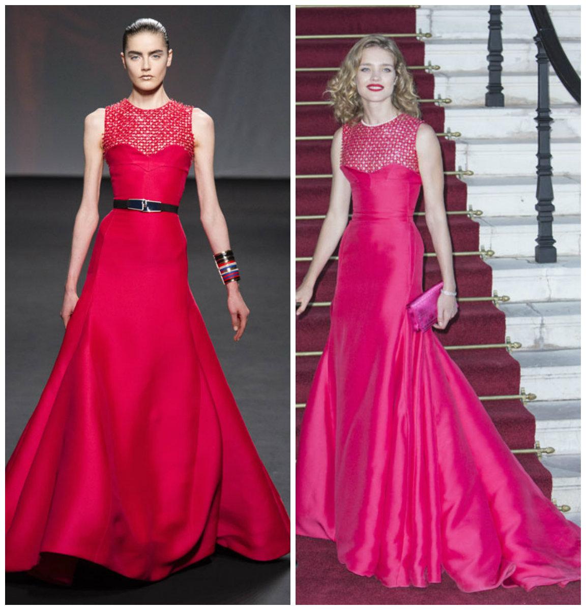 Natalia Vodianova en robe de soirée dans la collection haute couture automne-hiver 2013-2014 de Christian Dior
