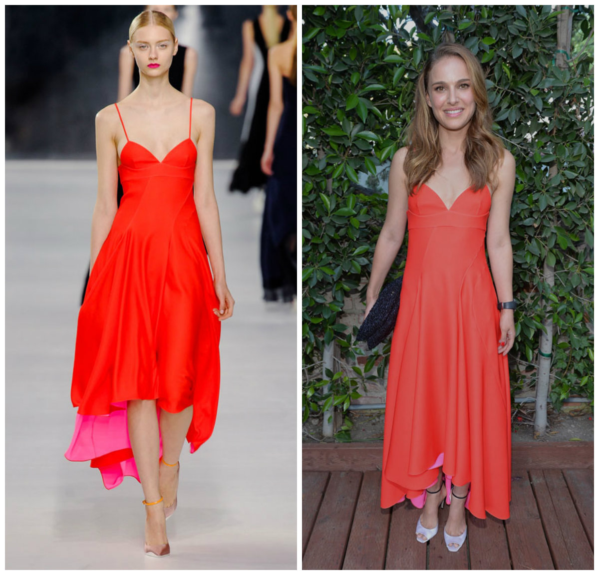 Natalie Portman en robe de cocktail rouge