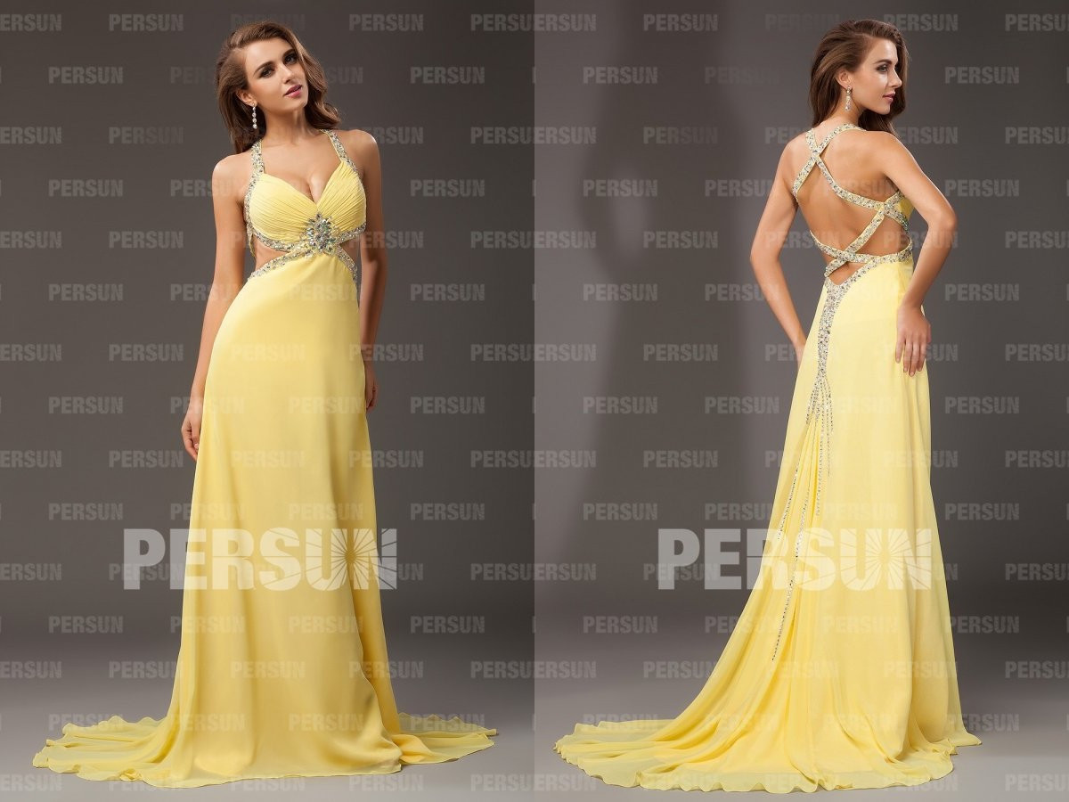 robe de soirée longue jaune à dos nu