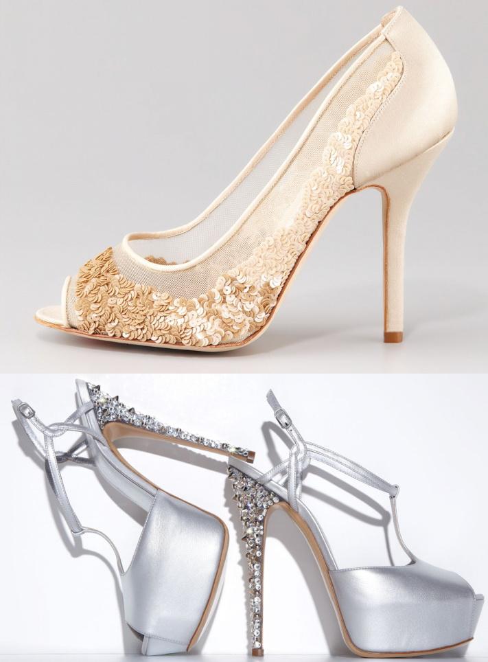 Chaussure de mariage à paillettes et diamond