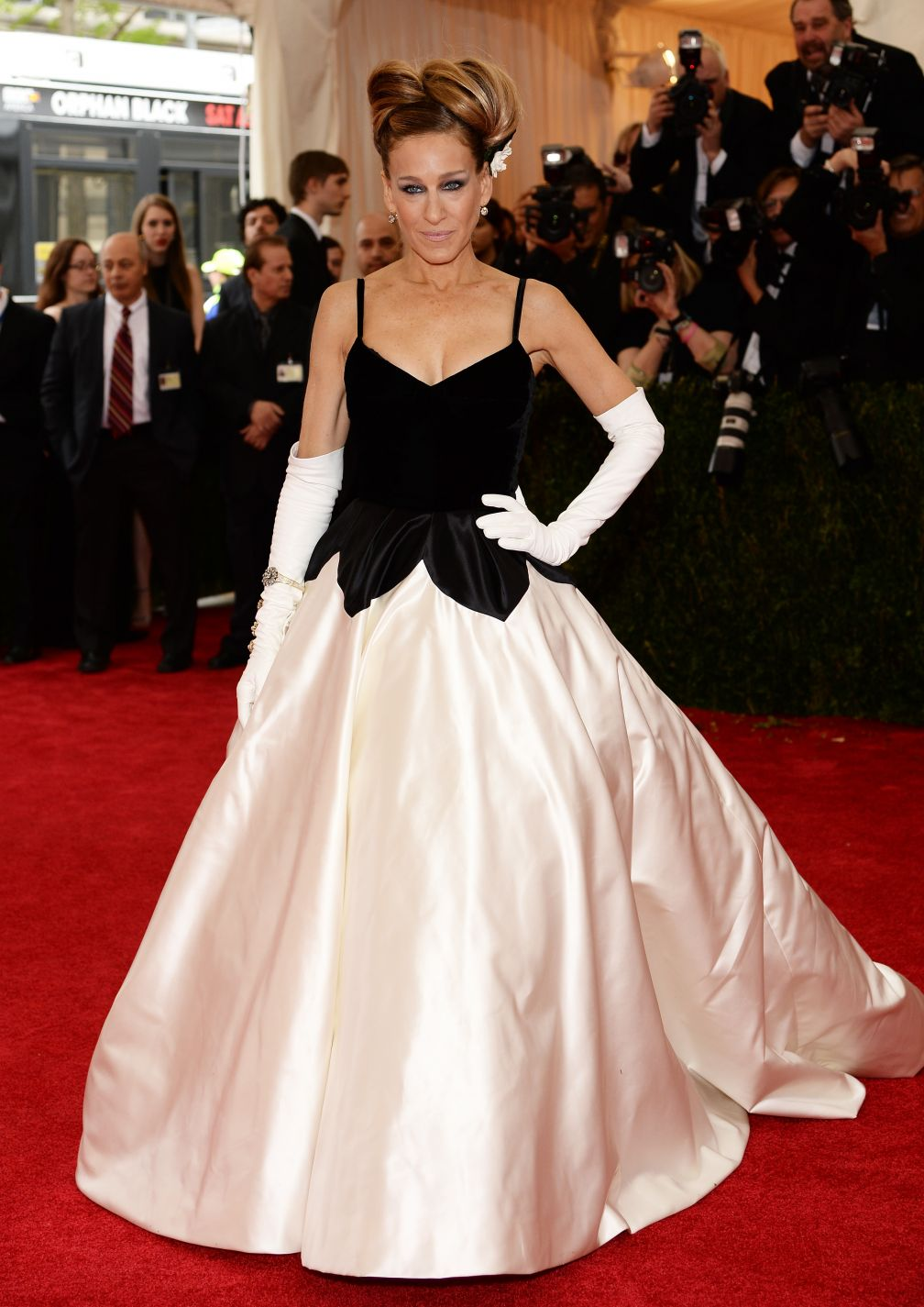 sarah jessica parker dans une robe splendide sur le tapis rouge