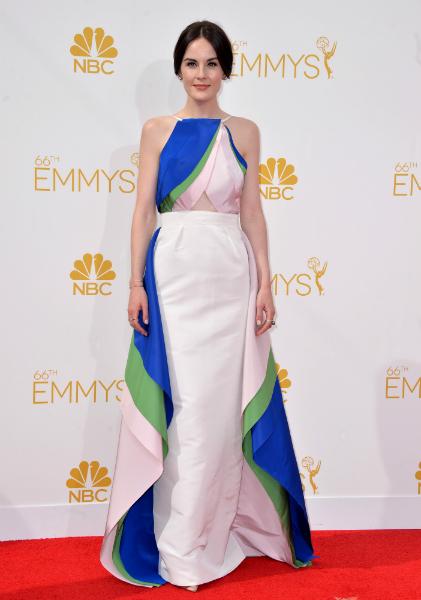 Michelle Dockery optait pour une robe de soirée tricolore