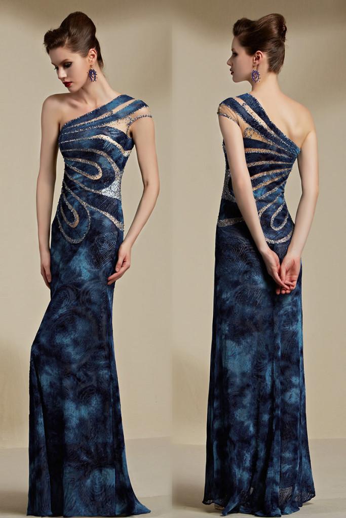 Sexy robe soirée découpée avec application de sequin