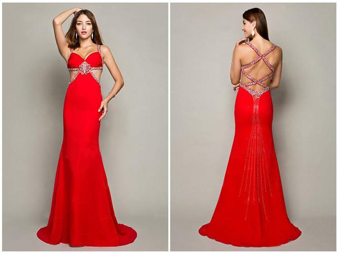 Robe de soirée rouge vermillon sexy à dos nu côte découpé