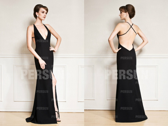 Robe longue decollete dos plongeant