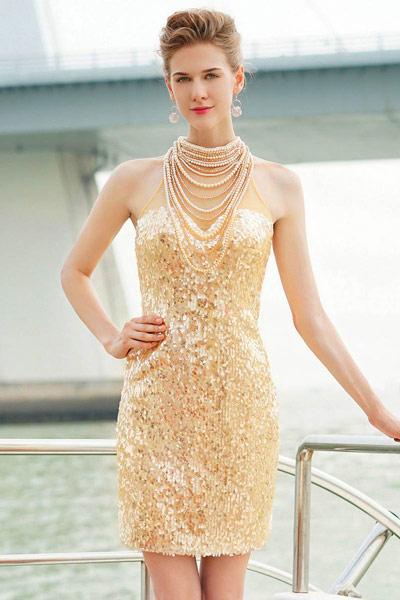 robe-de-soiree-courte-doree-2016
