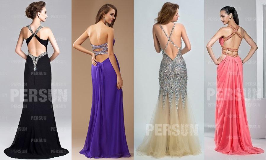 4 robes de soirée sexy dos bretelle croisée