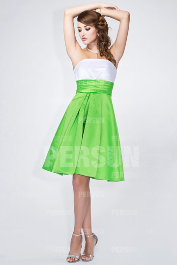 robe-de-soiree-courte-blanc-et-vert