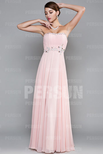 robe-rose-longue-empire-bustier-plissee-ornee-de-strass