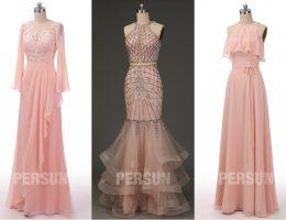 robe de soirée longue rose