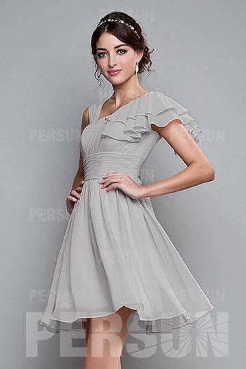 robe de soirée grise asymétrique