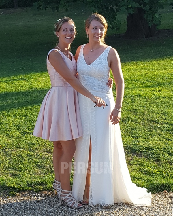 robe rose courte col en V pour témoin de mariage