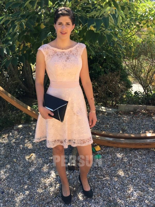 robe cérémonie mariage rose en dentelle