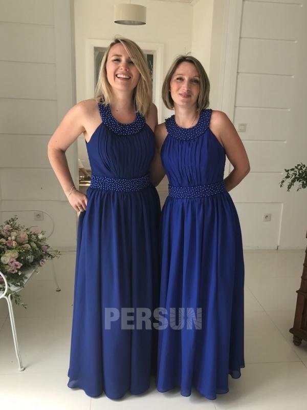 robe bleu longue col strassé pour mariage