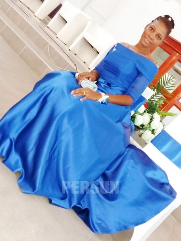 robe de soirée bleu roi avec manche