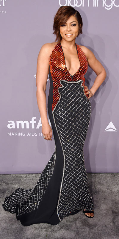 Taraji Henson en une robe de soirée sexy col en V plongeant en sequin