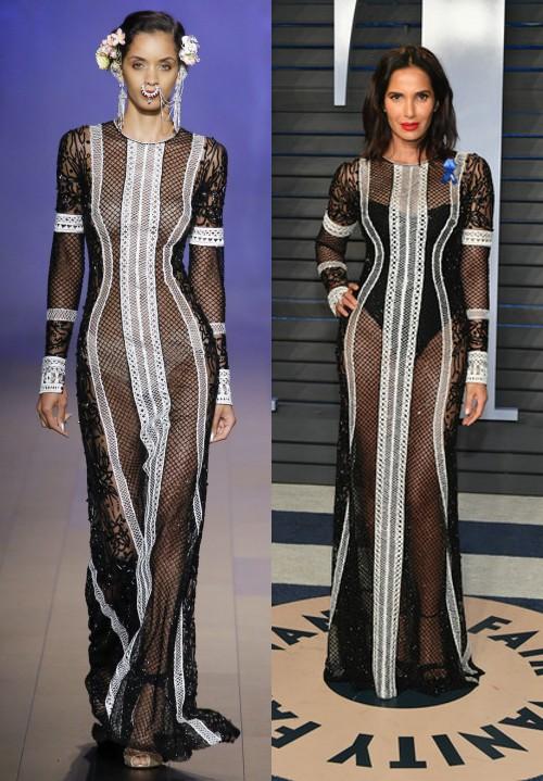 Padma Lakshmi sublime dans une robe de soirée sexy noire mi transparente au Vanity Fair 2018