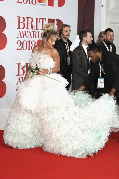 robe de soirée princesse à plums Rita Ora