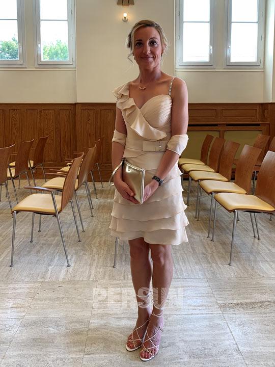 avis Robe de cocktail champagne à volants pour mariage