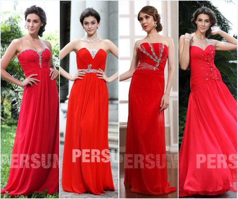 robes rouges habillée longues bustier pour soirée