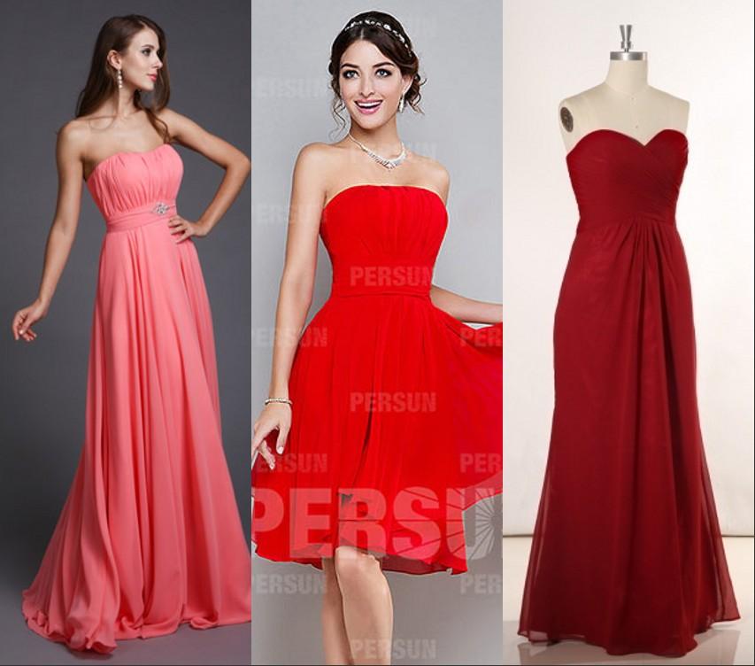 robe de soirée rouge de 3 types
