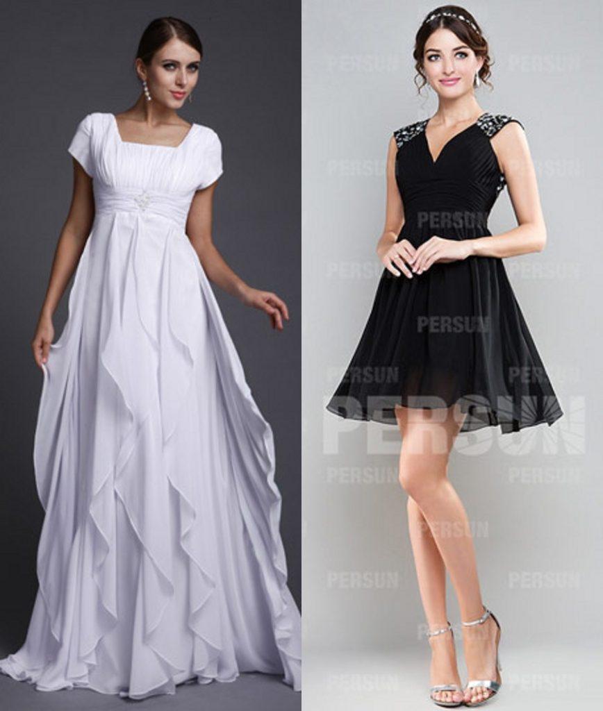 robe de soirée blanche longue et robe noire courte décolleté en V