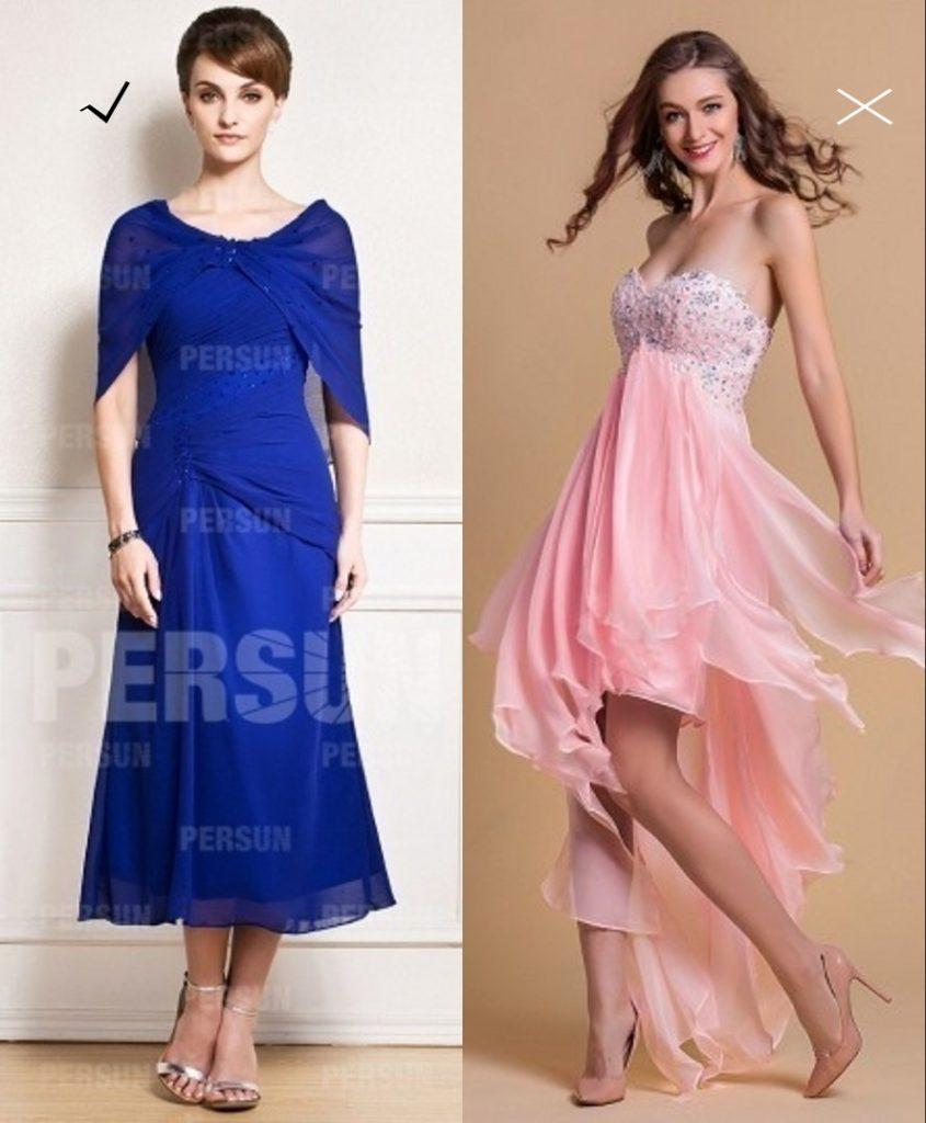 2 types contraire de robe de demoiselle d'honneur